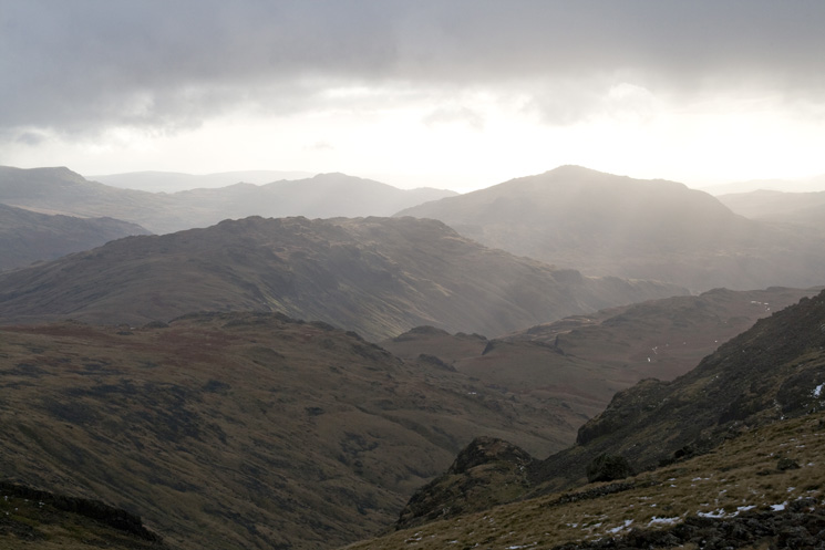 Esk Pike's south ridge, Hard Knott, Harter Fell and Caw