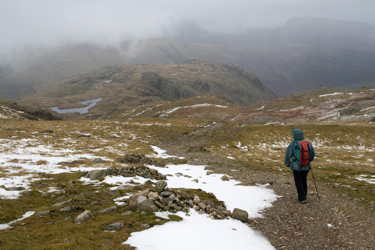 Sprinkling Tarn and Seathwaite Fell from the path down from Esk Hause