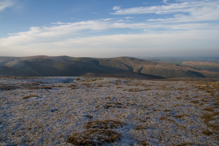 Looking across to Great Sca Fell, Little Sca Fell (pointed top left of centre) and Brae Fell (right of centre) from High Pike's summit