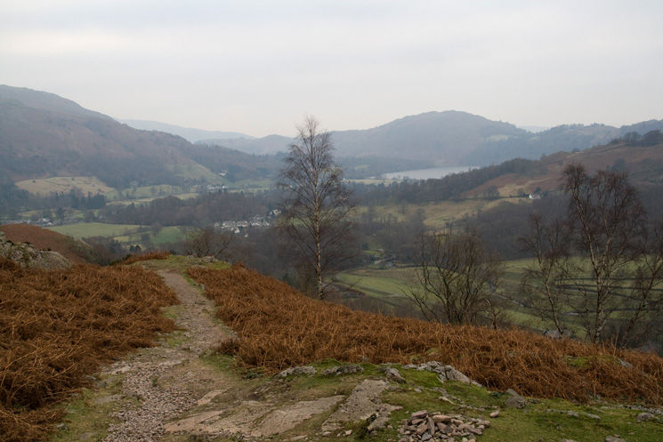 Looking south to Grasmere and Loughrigg Fell from our ascent of Helm Crag
