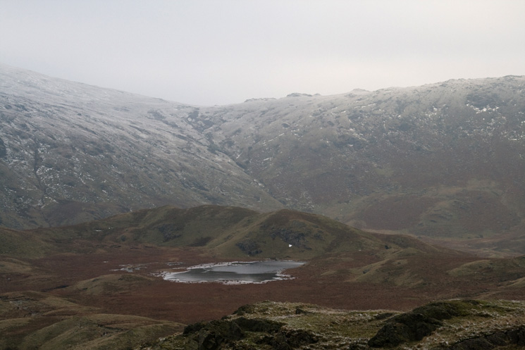Looking over Brownrigg Tarn to Greenup Edge from Calf Crag's summit