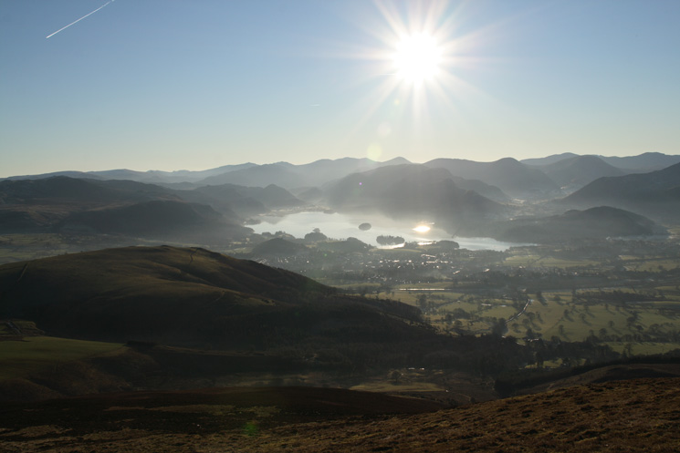 Looking south past Latrigg to Derwent Water and the high central fells