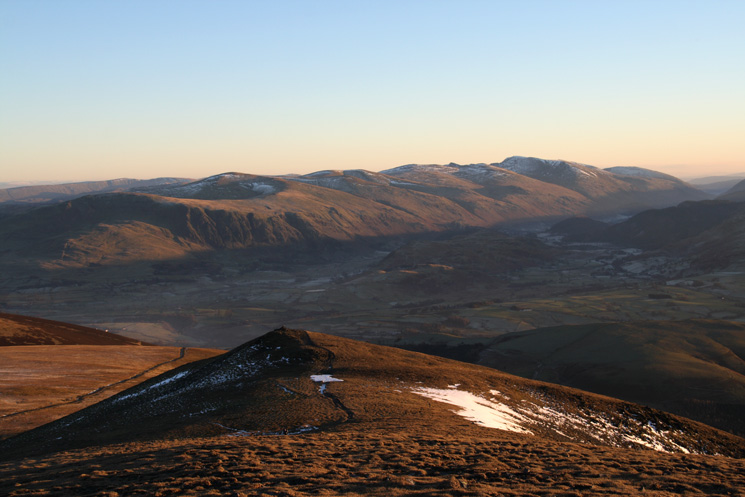 Skiddaw Lesser Man from Little Man with the Helvellyn ridge beyond