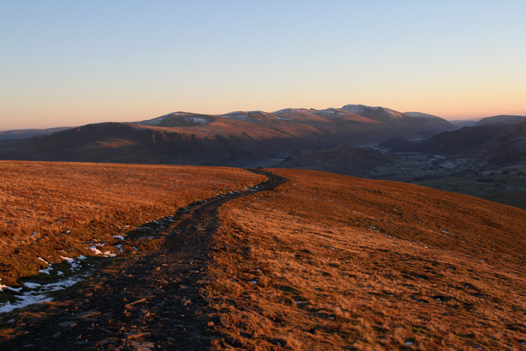The Helvellyn range from Jenkin Hill as the sun sets