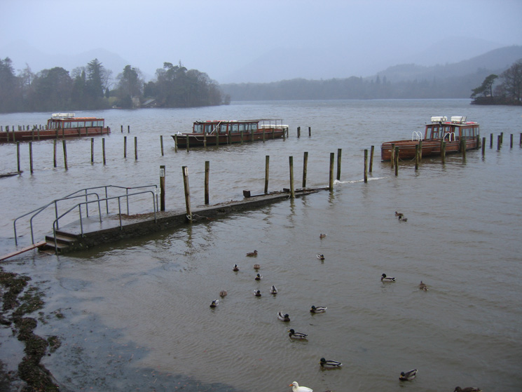 Keswick landing stages, Derwent Water - you will need to wade to reach the launches today