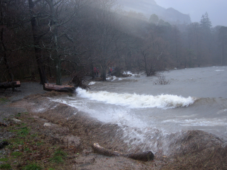 Derwent Water shore, it is really wild today