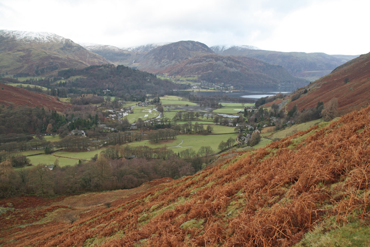 Looking down on Patterdale and the head of Ullswater from the path up to Boredale Hause