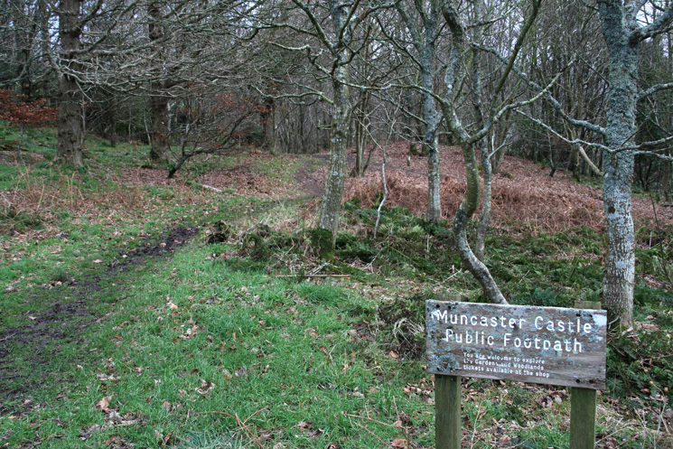 The public footpath through the grounds of Muncaster Castle