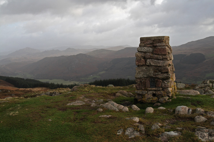 The trig point at Muncaster Fell's summit