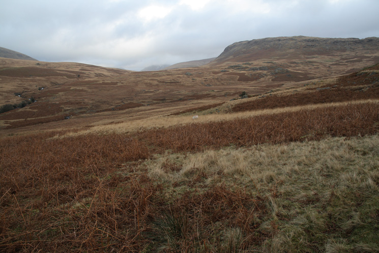 Burnmoor Tarn is just out of sight straight ahead. The fell on the right is Great How (Eskdale Fell)