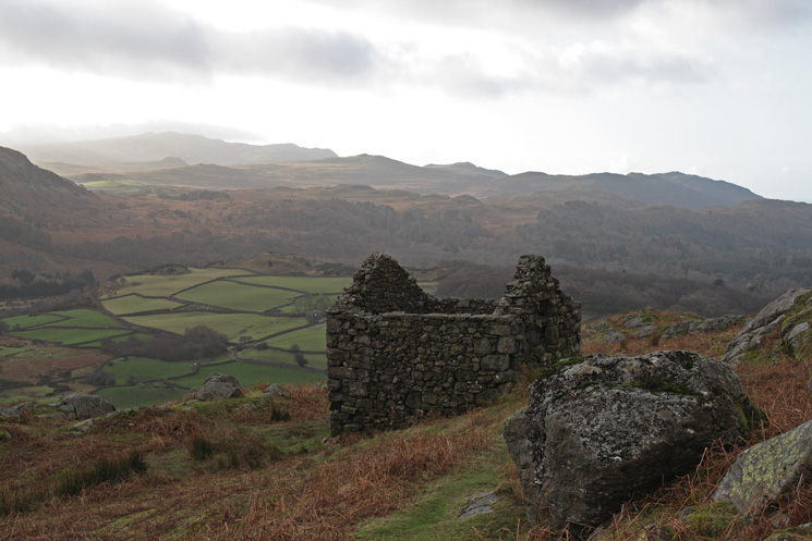Eskdale from the old stone peat hut above the Woolpack Inn
