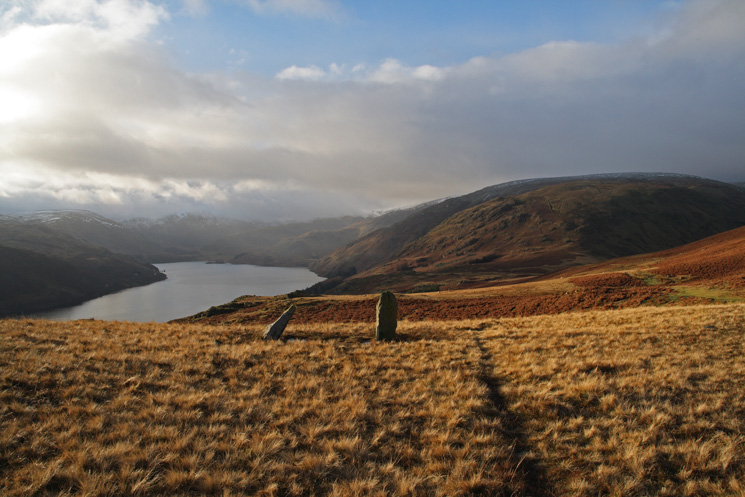 Haweswater and Measand End from the standing stones below Four Stones Hill