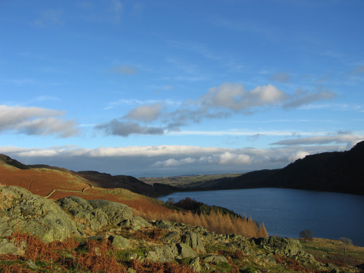 Blue sky over the Eden Valley as we descend to Haweswater's shore