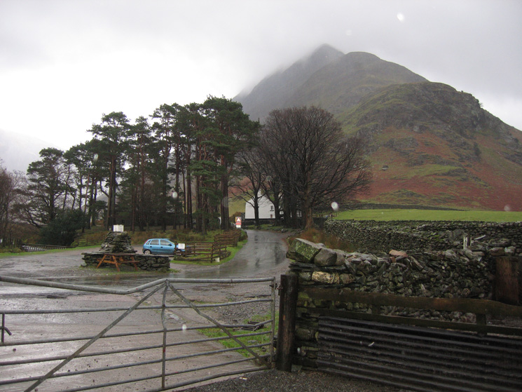 Fleetwith Pike from Gatesgarth Farm. It is 10:45 and my car is the only one in the car park and it is chucking it down with rain