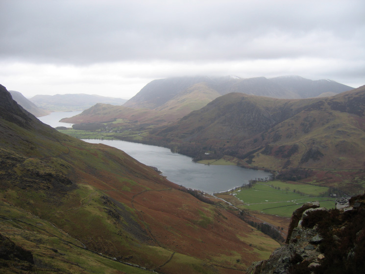 Buttermere and part of Crummock Water as I head for Haystacks summit