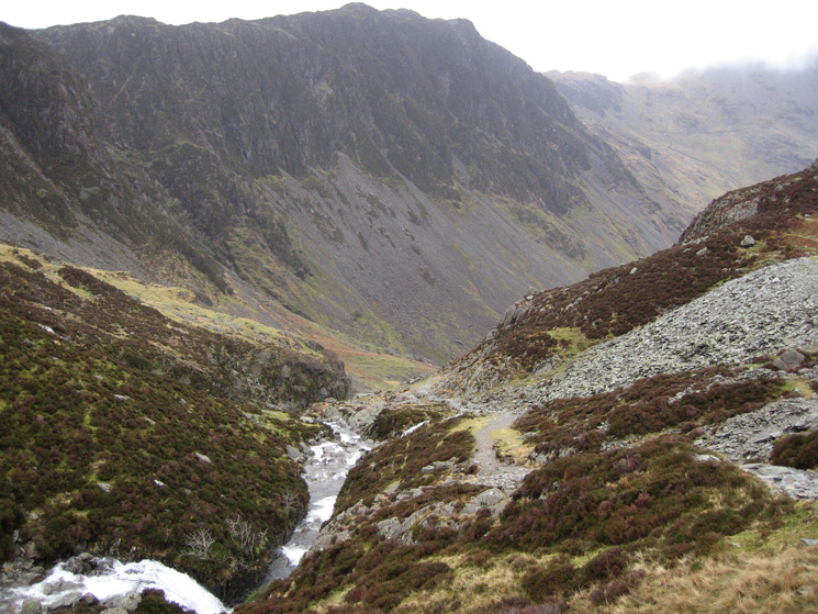 Haystacks from the old mine track down to Warnscale Bottom