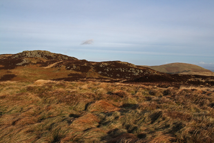 Gowbarrow Fells summit (left) and Little Mell Fell (right) from the 464m spot height
