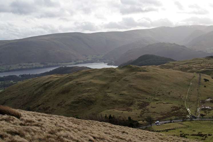 Looking over Watermillock Fell to Ullswater and the northern end of the High Street ridge from our descent back to The Hause