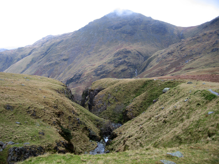 Hell Gill with Pike o'Blisco almost out of the clouds behind