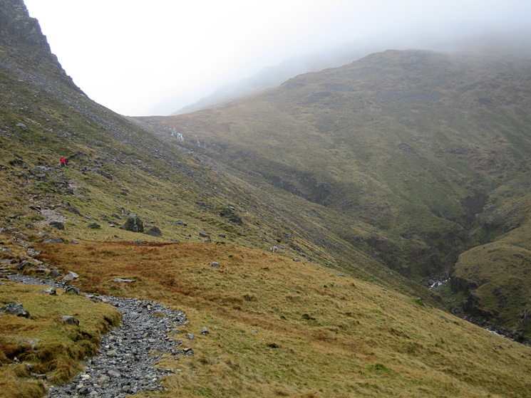 Looking back up the top part of the path from Red Tarn down to Oxendale