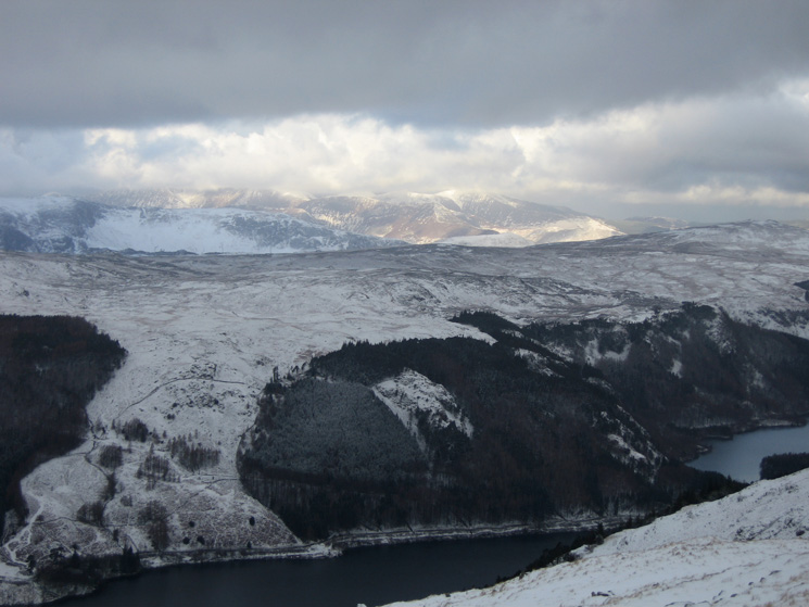 Looking over Thirlmere to the north western fells which are catching some sun