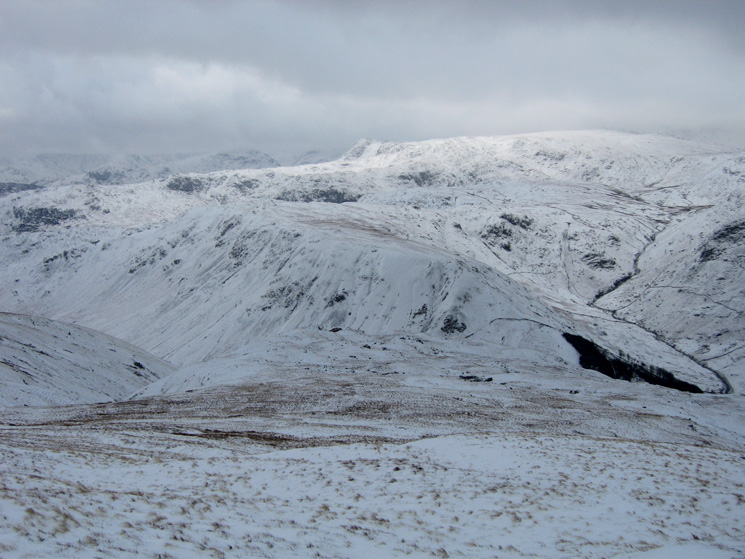 Looking over Steel Fell to Harrison Stickle and High Raise from Birk Side