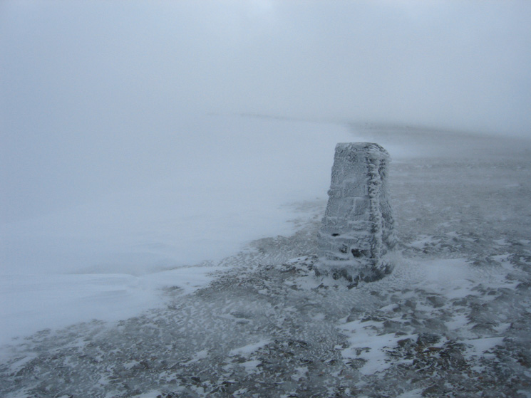 The trig point at Helvellyn's summit