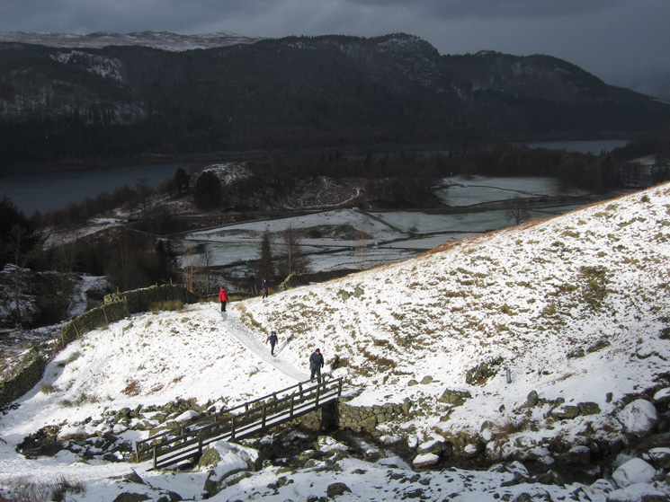 The footbridge over Helvellyn Gill with Raven Crag on the far side of Thirlmere