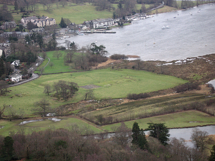 Zooming in on the remains of Galava (Roman Fort) and Waterhead