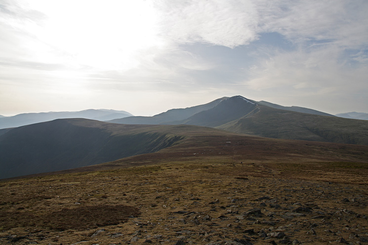 Bannerdale Crags on the left and Blencathra right of centre from Bowscale Fell's summit
