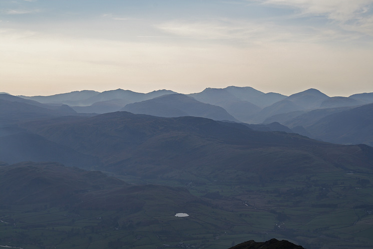 Looking south to Bowfell, the Scafells and Great Gable