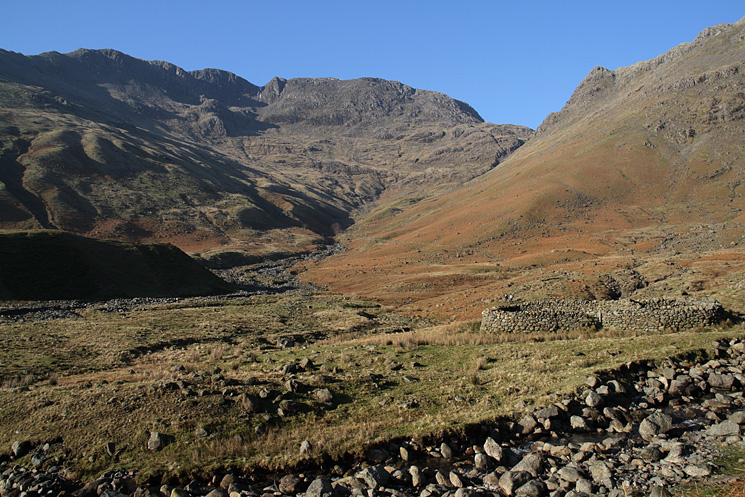 Bowfell, Rossett Gill and Rossett Pike from the end of Mickleden