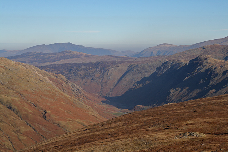 Langstrath with Blencathra in the far distance from Rossett Pike's summit