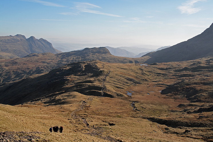 Looking back to Rossett Pike as I approach Lower Esk Hause (the cross shelter)