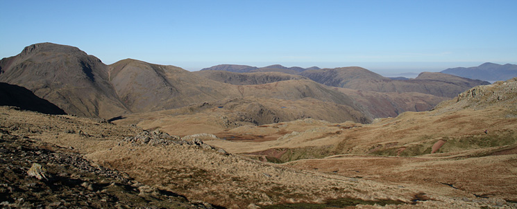 Great Gable, Green Gable, Base Brown with the north western fells behind and Skiddaw on the far right