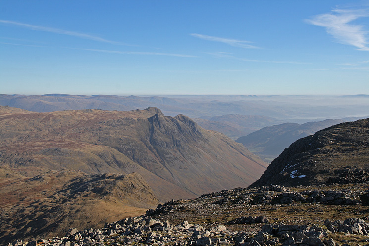 Rossett Pike below and the Langdale Pikes from Esk Pike's summit