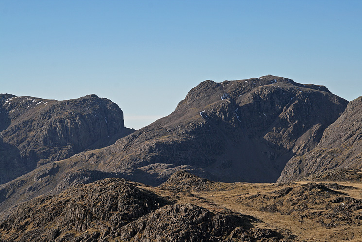 Zooming in on Mickledore and Scafell Pike
