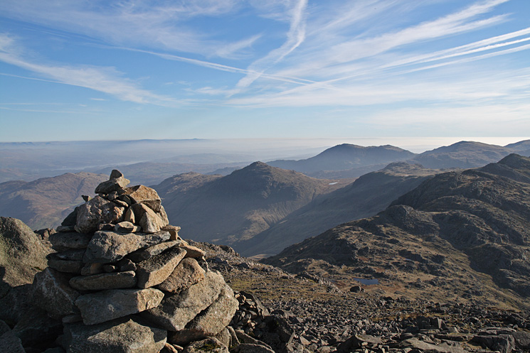 Looking south east from Bowfell's summit