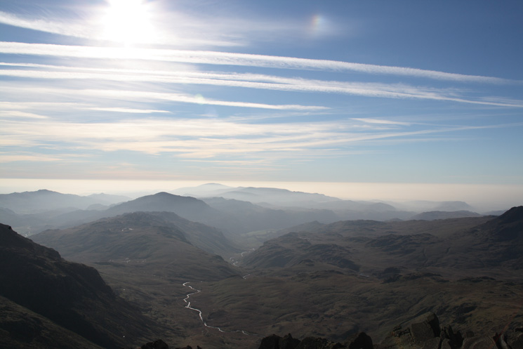 The view south from Bowfell's summit