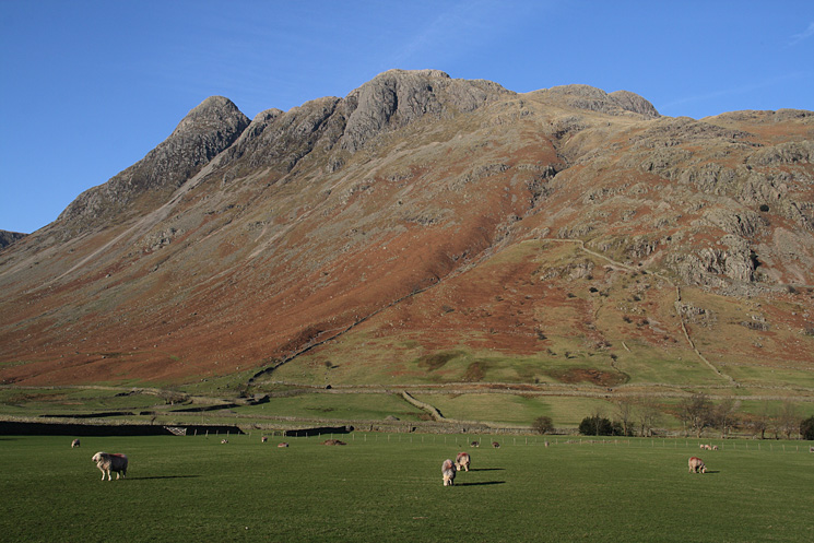 The Langdale Pikes from the Stool End Farm road