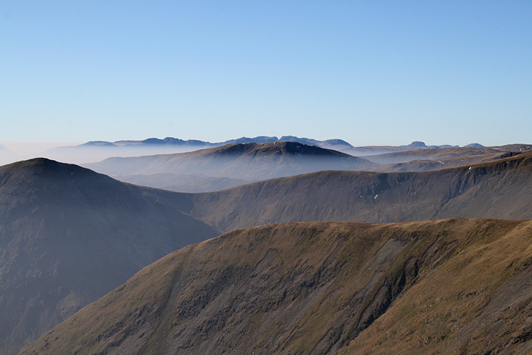 Lingmell End, Froswick, Red Screes, Crinkle Crags, Bowfell, the Scafells and Great Gable from Harter Fell