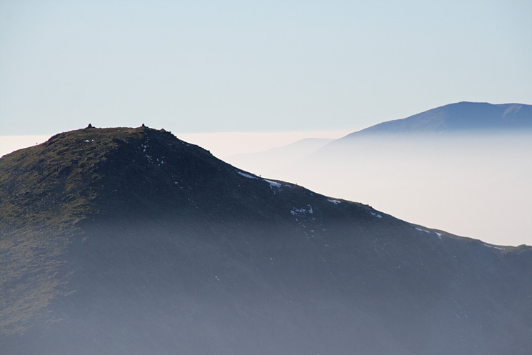 Zooming in on Ill Bell's summit with the Old Man of Coniston behind right