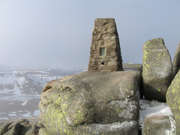 The trig point on Cac Carn Beag, Lochnagar's summit