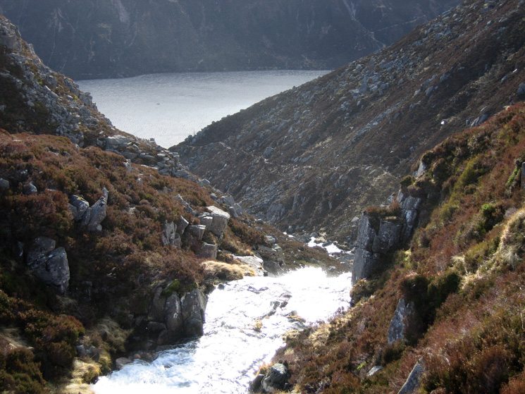 Looking down on Loch Muick from above the waterfalls