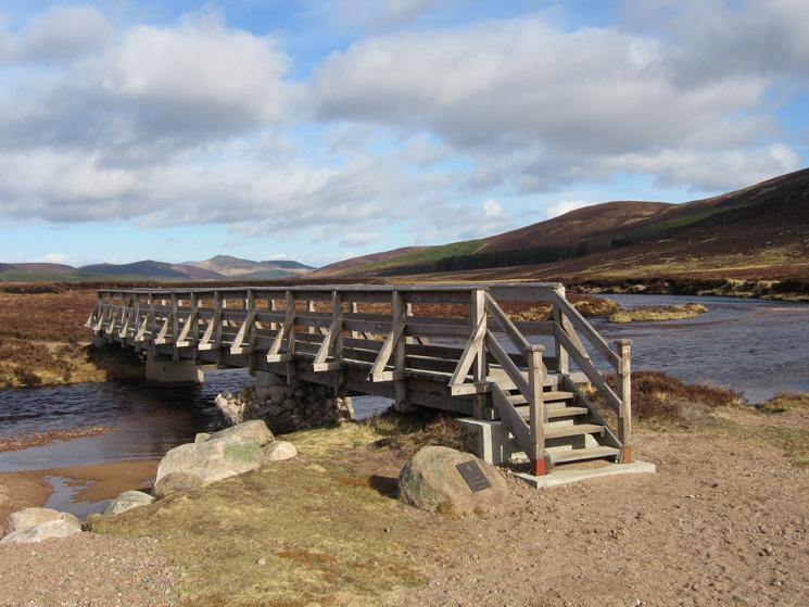 The footbridge across the River Muick as it flows out of Loch Muick