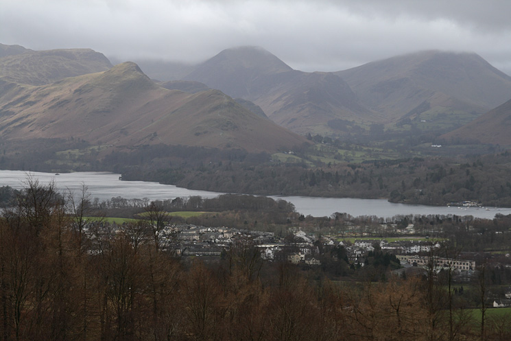 Catbells, Hindscarth and Robinson seen over Derwent Water and Keswick