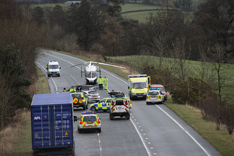Crash on the A66 Keswick bypass which saw a biker hurt and the road closed for hours