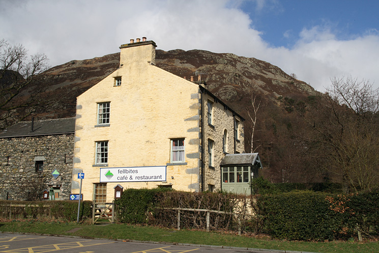 Fellbites cafe in Glenridding with Glenridding Dodd behind