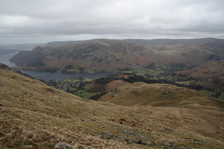 Looking back down Birkhouse Moor's east ridge with Place Fell on the other side of Ullswater