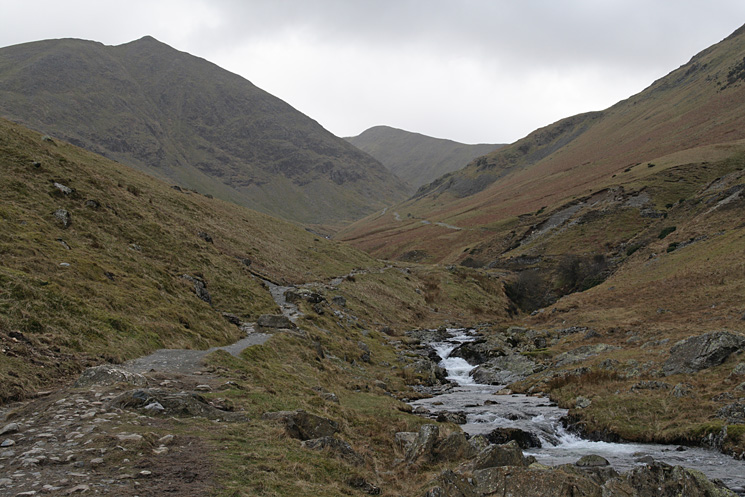 Looking back up Glenridding Beck to Catstycam with Helvellyn Lower Man in the distance